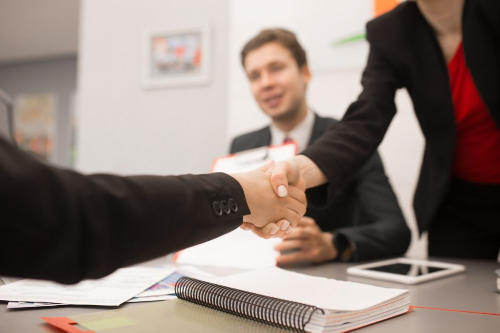 Business Partners Shaking Hands Close Up
