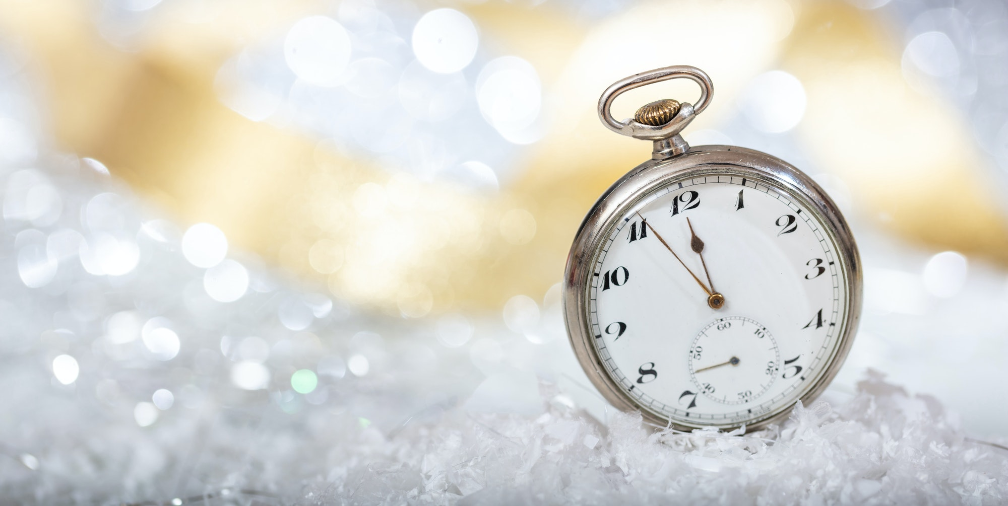 New Years eve. Minutes to midnight on an old pocket watch